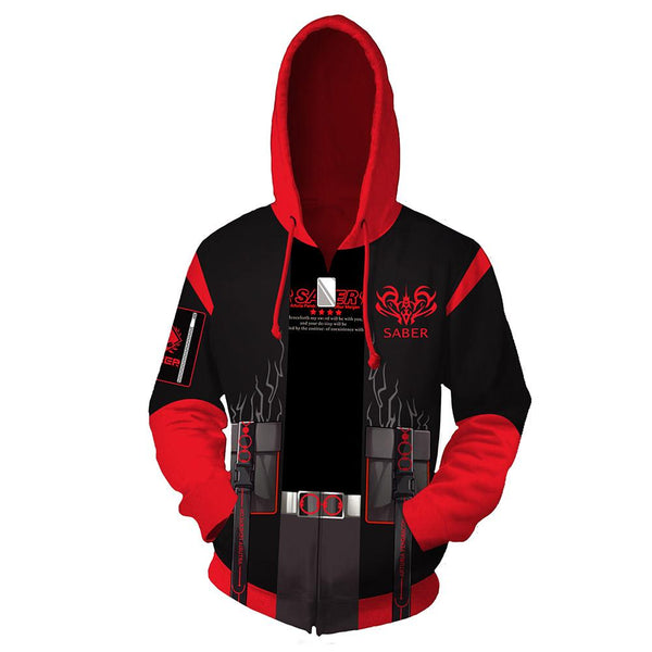 Unisex Fate/Stay Night Heaven's Feel Hoodies 3D Print Zip Up Sweatshirt Altria Pendragon Alter Cosplay Casual Outerwear