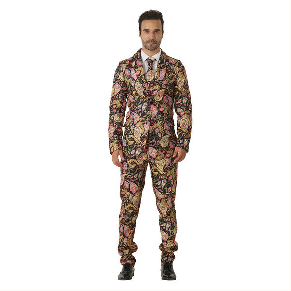 Halloween Men Crazy Party Costume Suit in Funny Golden Amoeba Designs – Comes with Jacket, Pants and Tie