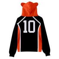 Kids Haikyuu!! Cat Ear Drawstring Hoodies Hinata Shoyo Cosplay Pullover 3D Print Sweatshirt