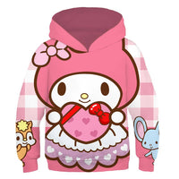 Kids My Melody Hoodies 3D Print Pullover Sweatshirt Outfit Cosplay Casual Outerwear
