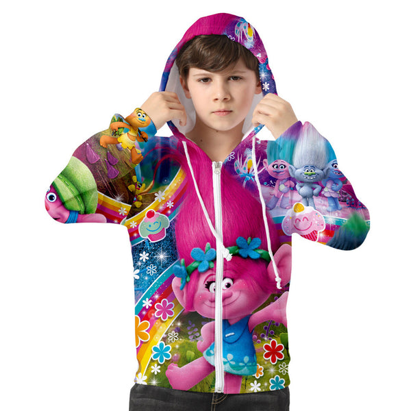 Kids Movie Trolls Hoodie Poppy Printed Cosplay Hooded Zip Up Sweatshirt Cosplay Costume