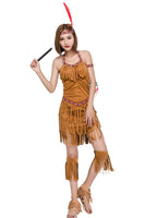 Women's Hide Huntress Halloween Costume Native American Indian Princess Dress