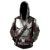 Star Wars The Mandalorian Hoodies Cosplay Hooded Sweatshirt Casual Streetwear Zip Up Hoodie