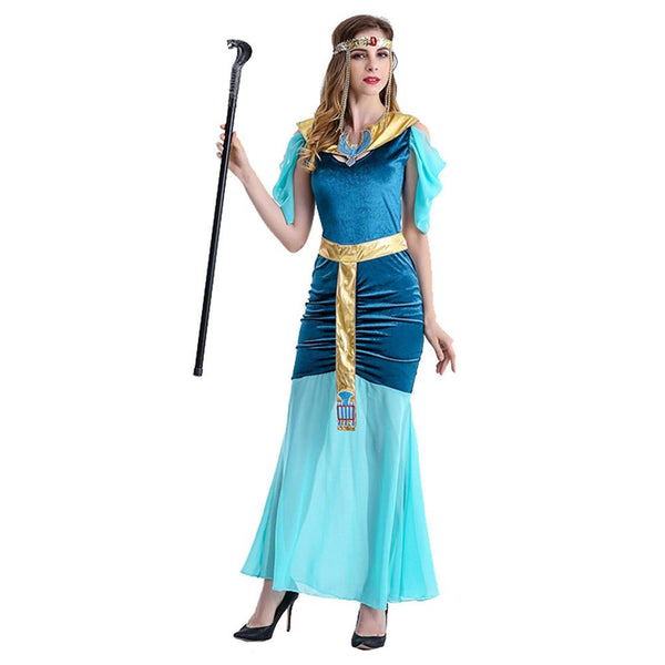 Women Halloween Luxury Princess Costume Blue Greek Goddess Dress Arab Queen Egypt Woman Cosplay Costume Fancy Dress