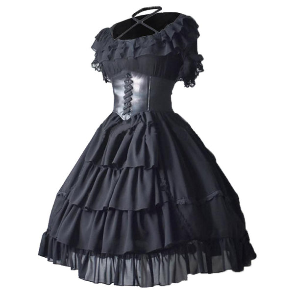 Women Medieval Costume Gothic Lolita Dress Lace Japanese Kawaii Girls Princess Maid Vintage Skirt