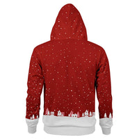 Unisex Christmas Hoodies Sweatshirt Autumn Winter Red Clothing Holidays Parties Sweatshirts Hoodies