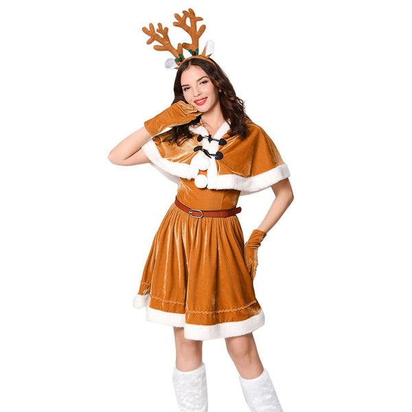 Women Christmas Reindeer Dress Cosplay Costume Cute Deer Animal Dress
