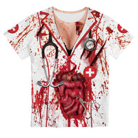 Women 3D Printed Dead Zombie Nurse Bloody T Shirt Top Halloween Fancy Dress Costume Outfit