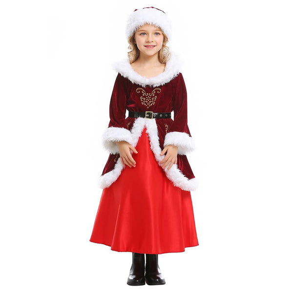 Girls Santa Claus Dress Costume Christmas Eve Party Wine Red Cosplay Outfits Suit Long Skirt Clothing