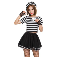 Women Halloween Stripped Convict Prisoner Black and White Short Sleeved Uniform Cosplay Costume