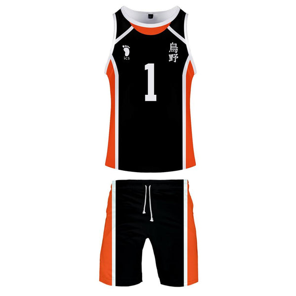 Men Haikyuu!! Karasuno High School Volleyball Club Cosplay Tank Tops & Shorts Set Summer Cool Sleeveless Casual Clothes