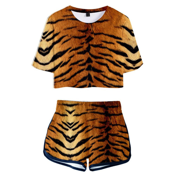 Women Crop Top & Shorts Set Tiger Stripe Printed Summer 2 Pieces Casual Clothes