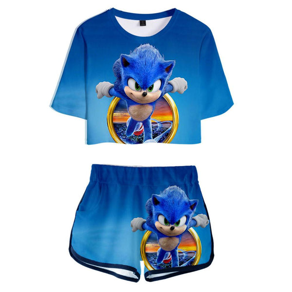 Women Sonic The Hedgehog Crop Top Sets Short Sleeve T-shirt Shorts 2 Pieces Sets Casual Clothes