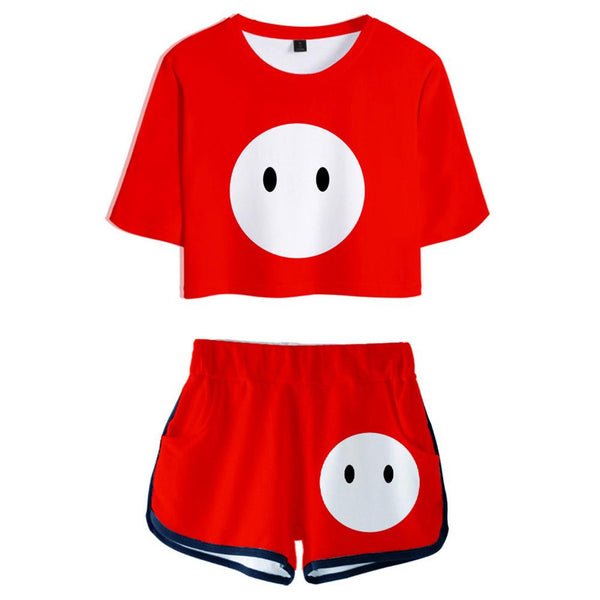 Women Fall Guys: Ultimate Knockout Cosplay Crop Top & Shorts Set Summer 2 Pieces Casual Clothes