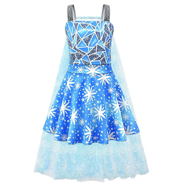 Kids Girls Frozen Cosplay Dress Elsa Princess Snowflake Costume Halloween Christmas Party Dresses Holiday Clothing