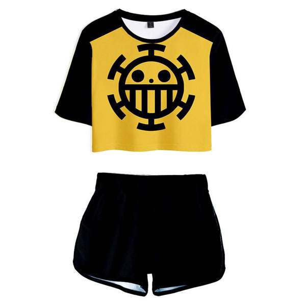 Women ONE PIECE Cosplay Crop Top & Shorts Set Heart Pirates Printed Summer 2 Pieces Casual Clothes