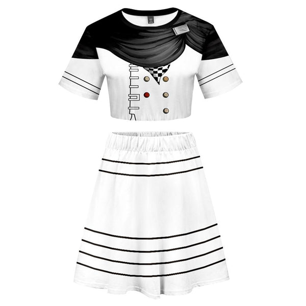 Women Danganronpa V3: Killing Harmony Kokichi Oma 2 Pieces Cosplay Outfits Short Sleeves Crop Top + A Line Skirt Sets