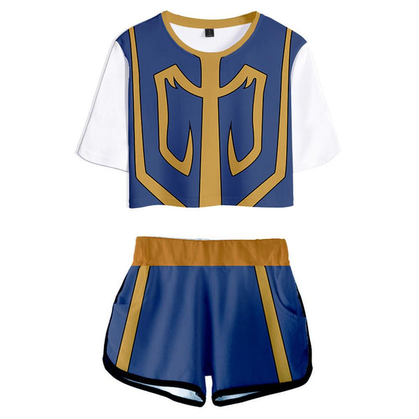 Women HUNTER×HUNTER Kurapika Cosplay Crop Top & Shorts Set Summer 2 Pieces Casual Clothes