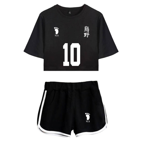 Women Haikyuu!! Karasuno High School Hinata Shoyo Cosplay Crop Top & Shorts Set Summer 2 Pieces Casual Clothes