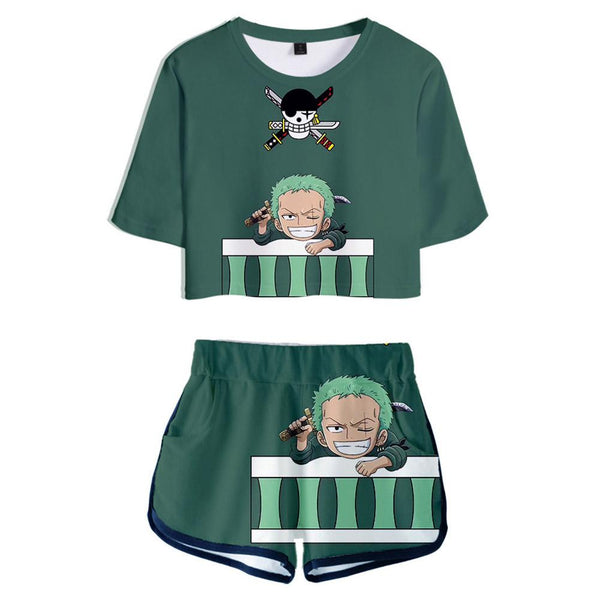 Women ONE PIECE Cosplay Crop Top & Shorts Set Roronoa Zoro Printed Summer 2 Pieces Casual Clothes