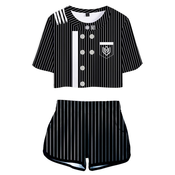 Women Danganronpa V3: Killing Harmony Saihara Shuichi Cosplay Crop Top & Shorts Set Summer 2 Pieces Casual Clothes
