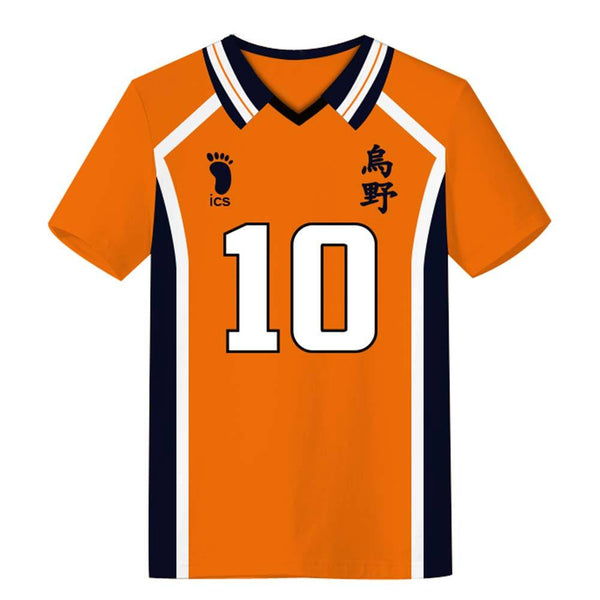 Unisex Haikyuu!! T-shirts Karasuno High School Away Team Uniform Hinata Shoyo Cosplay Casual Shirt