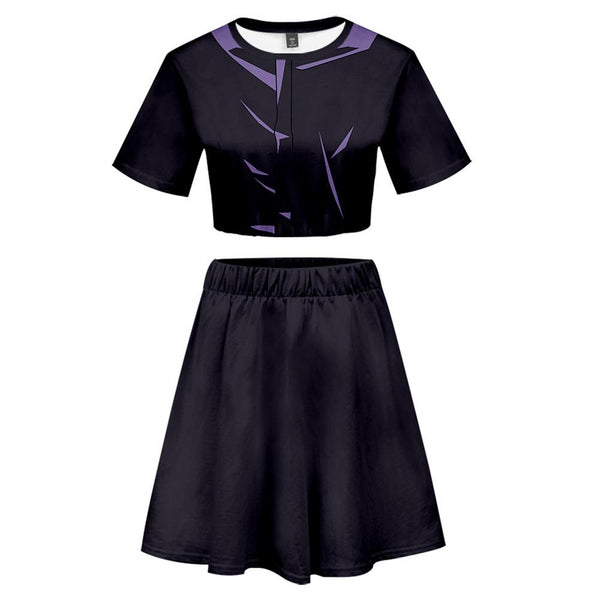 Women Jujutsu Kaisen Satoru Gojo 2 Pieces Cosplay Outfits Short Sleeves Crop Top + A Line Skirt Sets