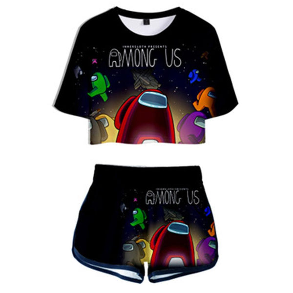 Women Among Us Crop Top Sets Short Sleeve T-shirt Shorts 2 Pieces Sets Casual Clothes