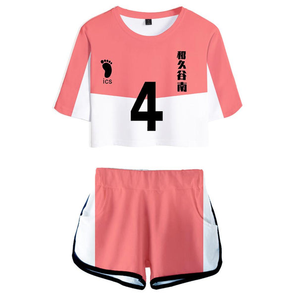 Women Haikyuu!! Yūki Shiroishi Cosplay Crop Top & Shorts Set Summer 2 Pieces Casual Clothes