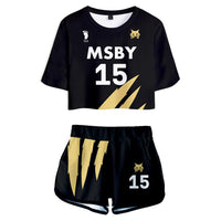 Women Haikyuu!! Kiyoomi Sakusa MSBY Black Jackal Cosplay Crop Top & Shorts Set Summer 2 Pieces Casual Clothes
