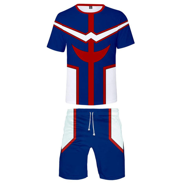 Men My Hero Academia T-shirt Sets All Might Cosplay Tee Shorts 2 Pieces Sets Casual Clothes