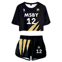 Women Haikyuu!! Kotaru Bokuto MSBY Black Jackal Cosplay Crop Top & Shorts Set Summer 2 Pieces Casual Clothes
