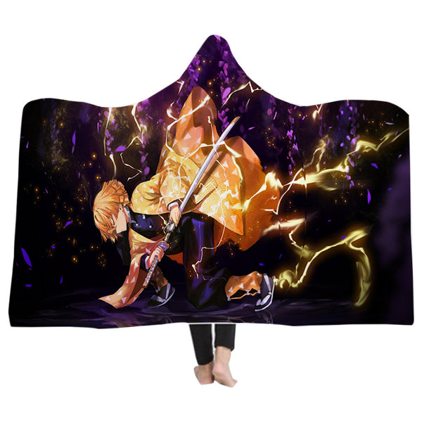 Wearable Demon Slayer: Kimetsu no Yaiba Warm Hooded Blanket Soft Fluffy Throw Poncho Kids Adult Blanket