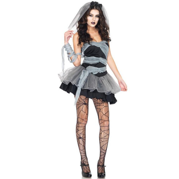 Halloween Women Vampire Zombie Devil Party Performance Dress Veil Set Halloween Scary Cosplay Outfit Set