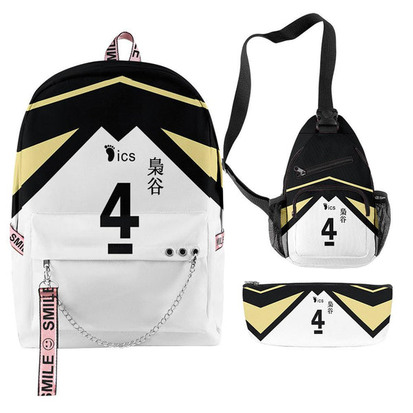 3pcs Haikyuu!! Backpack Set Fukurōdani Academy Student School Bag Anime Fans Gift Travel Backpack Daypack