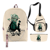 3pcs Demon Slayer: Kimetsu no Yaiba Backpack Set Student School Bag Game Fans Gift Travel Backpack Daypack