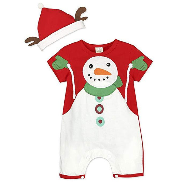 2Pcs Baby Christmas Snowman Outfits Fancy Santa Claus Pajamas