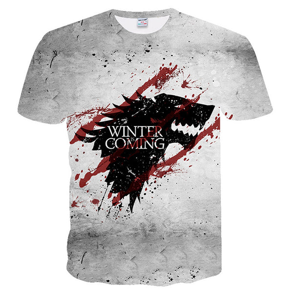 Unisex Game of Thrones T-Shirt House Stark Tshirt Winter Is Coming Shirt Summer Tops Tees