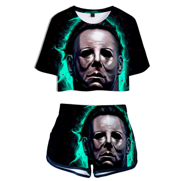Women Movie Halloween Crop Top & Shorts Set Michael Myers Printed Summer 2 Pieces Casual Clothes