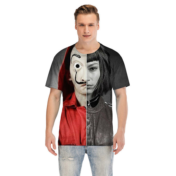 Unisex Money Heist T-shirt Dali Printed Spring Summer Crewneck Short Sleeve Tops Clothes