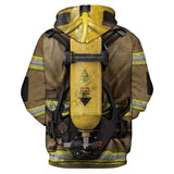 Unisex Firefighter Print 3D Hoodies Funny Fireman Sweatshirt Cosplay Hooded Long Sleeve Pullover Costume