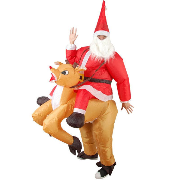 Adult Inflatable Elk Costume Christmas Santa Cosplay Reindeer-Rider Suit
