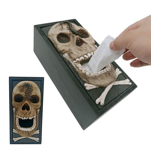 Novelty Skull Tissue Box Tissue Paper Holder Box Dispenser Cover Halloween Terror Decoration