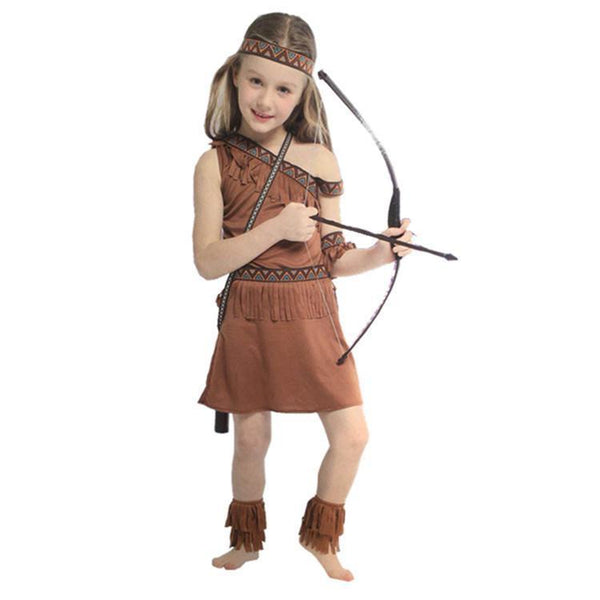 Girls Native American Indian Princess Costume Dress Hunter Clothes Halloween Cosplay