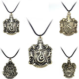 Classic Harry Potter Necklace Hogwarts Wizarding School Slytherin Hufflepuff Ravenclaw Gryffindor Badge Necklace