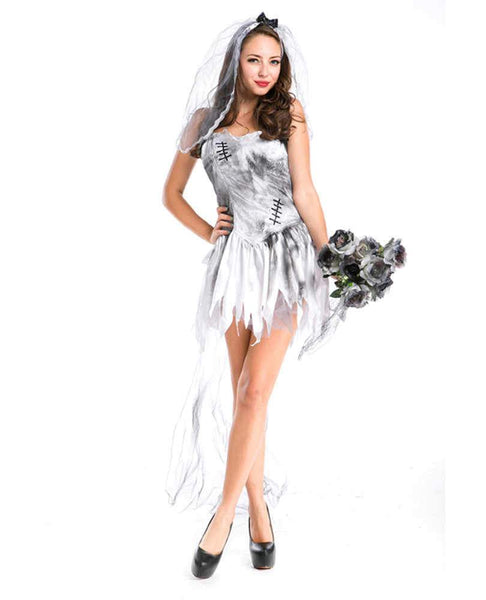Women Horror Dark Vampire Ghost Bride Costume Halloween Cosplay Vampire Zombie Carnival Party Dress