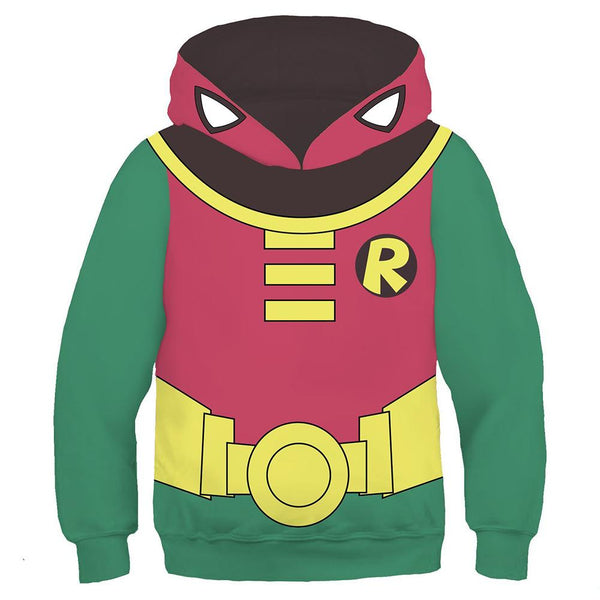 Kids Teen Titans Go Hoodie Robin Cosplay Hooded Pullover Sweatshirt Cosplay Costume