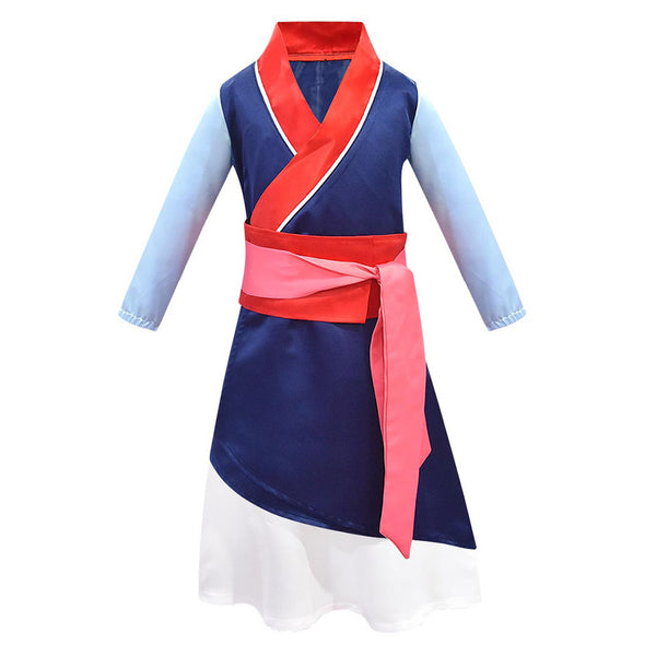 Kids Girls 2020 Hua Mulan Cosplay Dress 3PCS Set Halloween Carnival Costume Dress Up