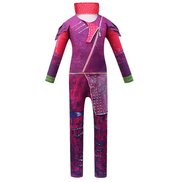 Kids Descendants Mal Cosplay Zentai Suit Halloween Costume Children Jumpsuit Bodysuit Outfits