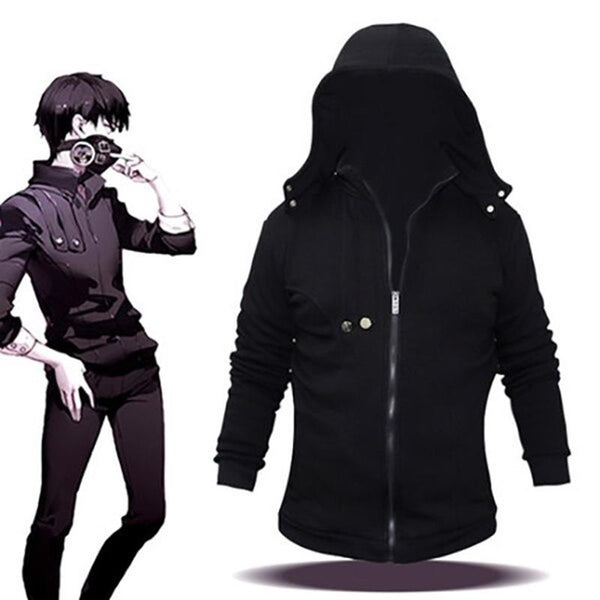 Tokyo Ghoul COSplay Costume Ken Kaneki Outfit Jacket Attire Hoodie Hooded Black Sweatshirt
